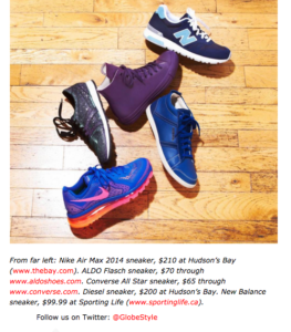 Featured as one of Globe&Mail's sneakers of the season